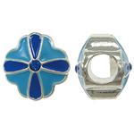 Zink Legierung Europa Perlen, Zinklegierung, Blume, ohne troll & Emaille & mit Strass, blau, frei von Nickel, Blei & Kadmium, 10x10mm, Bohrung:ca. 5mm, 10PCs/Tasche, verkauft von Tasche