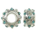 Zink Legierung Europa Perlen, Zinklegierung, Rondell, ohne troll & mit Strass, frei von Nickel, Blei & Kadmium, 11x7mm, Bohrung:ca. 5mm, 10PCs/Tasche, verkauft von Tasche