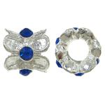 Zink Legierung Europa Perlen, Zinklegierung, Rondell, ohne troll & mit Strass, frei von Nickel, Blei & Kadmium, 11x10mm, Bohrung:ca. 5mm, 10PCs/Tasche, verkauft von Tasche