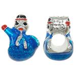 Europa Beads Weihnachten, Zinklegierung, Schneemann, ohne troll & Emaille, blau, frei von Nickel, Blei & Kadmium, 12x14x9mm, Bohrung:ca. 5mm, 10PCs/Tasche, verkauft von Tasche