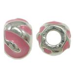 Zink Legierung Europa Perlen, Zinklegierung, Rondell, ohne troll & Emaille, Rosa, frei von Nickel, Blei & Kadmium, 12x8mm, Bohrung:ca. 5mm, 10PCs/Tasche, verkauft von Tasche