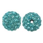 Harz Perlen Strass, rund, mit Strass, Aquamarin, 10x10mm, Bohrung:ca. 1.5mm, 10PCs/Tasche, verkauft von Tasche