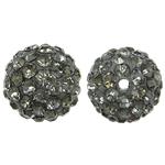 Harz Perlen Strass, rund, mit Strass, hellgrau, 10x10mm, Bohrung:ca. 1.5mm, 10PCs/Tasche, verkauft von Tasche