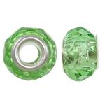 European Kristall Perlen, Rondell, Sterling Silber-Dual-Core ohne troll, Peridot, 14x9mm, Bohrung:ca. 5mm, 20PCs/Tasche, verkauft von Tasche