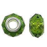 European Kristall Perlen, Rondell, Sterling Silber-Dual-Core ohne troll, Olivin, 14x9mm, Bohrung:ca. 5mm, 20PCs/Tasche, verkauft von Tasche