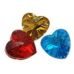 KRISTALLanhänger, Kristall, Herz, gemischte Farben, 10x10x5mm, Bohrung:ca. 1mm, 10PCs/Tasche, verkauft von Tasche