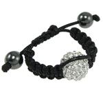 Clearance Woven Ball Armbänder, Ton, mit Wachsschnur & Hämatit, handgemacht, mit Strass, keine, 12mm, Größe:8, verkauft von Strang