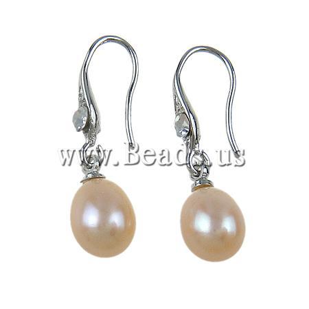 Freshwater Pearl Earrings Rhinestone brass earring hook Oval pink 8-9mm Sold Pair