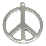 Edelstahl Schmuck Anhänger, Frieden Logo, originale Farbe, 18x18x1.50mm, Bohrung:ca. 1.5mm, 50PCs/Menge, verkauft von Menge