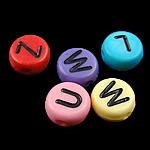 Alphabet Acryl Perlen, Münze, gemischte Farben, 4x7mm, Bohrung:ca. 0.5mm, 3600-3700PCs/Tasche, verkauft von Tasche
