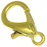 Zinklegierung Karabinerverschluss, goldfarben plattiert, frei von Nickel, Blei & Kadmium, 10.20x18.80x4.20mm, Bohrung:ca. 2.2mm, 500PCs/Tasche, verkauft von Tasche