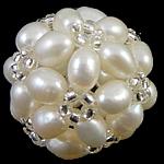 Ball Cluster Zuchtperlen, Natürliche kultivierte Süßwasserperlen, mit Glas-Rocailles, rund, weiß, 17mm, verkauft von PC