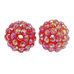 Harz Strass Perlen, rund, mit Strass, Rosa, 14x16mm, Bohrung:ca. 2mm, 100PCs/Tasche, verkauft von Tasche
