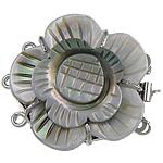 Muschel Schnappschließe, mit Messing, Blume, 3-Strang, 29x32x9mm, Bohrung:ca. 1.5mm, verkauft von PC