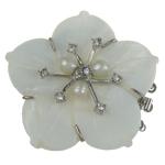 Muschel Schnappschließe, mit kultivierte Süßwasser kernhaltige Perlen & Messing, Blume, 3-Strang, weiß, 51x50x12mm, Bohrung:ca. 2mm, verkauft von PC