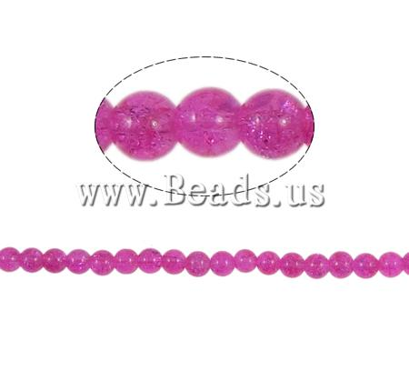 Buy Crackle Glass Beads Round fuchsia pink 8mm Hole:Approx 2mm Length:Approx 31 Inch 10Strands/Bag Sold Bag
