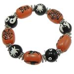 Halloween Armband, Glas, mit Zinklegierung, Pinselführung, 14x18mm, verkauft per 7.5 ZollInch Strang