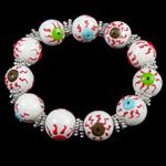 Halloween Armband, Glas, mit Zinklegierung, blöser Blick, Pinselführung, 14mm, verkauft per 7.5 ZollInch Strang