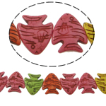Türkis Perlen, Synthetische Türkis, Fisch, gemischte Farben, 26x23x5mm, Bohrung:ca. 1mm, ca. 18PCs/Strang, verkauft per ca. 15 ZollInch Strang