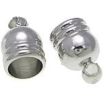 Messing Endkappe, Platinfarbe platiniert, frei von Nickel, Blei & Kadmium, 5x8mm, 4mm, Bohrung:ca. 1.4mm, 1000PCs/Tasche, verkauft von Tasche