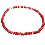Koralle Halskette, Natürliche Koralle, Messing Karabinerverschluss, rot, 6mm, verkauft per 17 ZollInch Strang