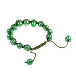 Süßwasserperlen Woven Ball Armbänder, Natürliche kultivierte Süßwasserperlen, mit Wachsschnur, grün, 8-13mm, verkauft per 7 ZollInch Strang
