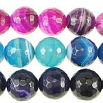 Natürliche Streifen Achat Perlen, rund, facettierte, gemischte Farben, 14mm, Bohrung:ca. 1.5-2mm, Länge:ca. 15.5 ZollInch, 6SträngeStrang/Menge, verkauft von Menge