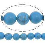 Türkis Perlen, Synthetische Türkis, rund, synthetisch, verschiedene Größen vorhanden, blau, 10mm, Bohrung:ca. 1mm, Länge:ca. 15.5 ZollInch, verkauft von Menge