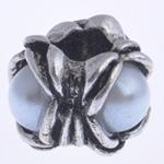 Zink Legierung Europa Perlen, Zinklegierung, Blume, antik silberfarben plattiert, mit Kunststoff-Perlen & ohne troll, keine, frei von Nickel, Blei & Kadmium, 10x13mm, Bohrung:ca. 5mm, verkauft von PC