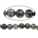 Natürliche Drachen Venen Achat Perlen, Drachenvenen Achat, rund, schwarz, 14mm, Bohrung:ca. 1.5mm, Länge:ca. 15.5 ZollInch, 5SträngeStrang/Menge, verkauft von Menge