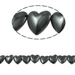 Magnetische Hämatit Perlen, Herz, schwarz, Grade A, 12x4mm, Bohrung:ca. 1.5mm, Länge:15.5 ZollInch, 10SträngeStrang/Menge, verkauft von Menge