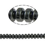 Magnetische Hämatit Perlen, Rondell, schwarz, Grade A, 6x3mm, Bohrung:ca. 1.5mm, Länge:15.5 ZollInch, 10SträngeStrang/Menge, verkauft von Menge