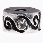 Messing European Clipverschluss, Rondell, frei von Nickel, Blei & Kadmium, 13x6mm, Bohrung:ca. 3mm, 10PCs/Tasche, verkauft von Tasche