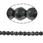 Nicht-magnetische Hämatit Perlen, Non- magnetische Hämatit, rund, schwarz, Grade A, 4x4mm, Bohrung:ca. 1mm, Länge:15.5 ZollInch, 10SträngeStrang/Menge, verkauft von Menge