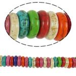 Türkis Perlen, Synthetische Türkis, Rondell, gemischte Farben, 8x2.50mm, Bohrung:ca. 1.5mm, 150PCs/Strang, verkauft per ca. 15 ZollInch Strang
