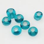 Silbereinzug Glas Rocailles, Glas-Rocailles, Rondell, blau, 2x1.90mm, Bohrung:ca. 1mm, verkauft von Tasche