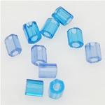 Transparente Glas Rocailles, Glas-Rocailles, Rohr, transluzent, blau, 2x3mm, Bohrung:ca. 1mm, verkauft von Tasche