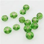 Silbereinzug Glas Rocailles, Glas-Rocailles, Rondell, grün, 2x3mm, Bohrung:ca. 1mm, verkauft von Tasche