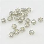 Silbereinzug Glas Rocailles, Glas-Rocailles, rund, Silberfarbe, 2x3mm, Bohrung:ca. 1mm, ca. 10000PCs/Tasche, verkauft von Tasche