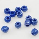 Glänzende Glas-Rocailles, Rondell, blau, 2x3mm, Bohrung:ca. 1mm, verkauft von Tasche