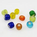 Silbereinzug Glas Rocailles, Glas-Rocailles, Rondell, gemischte Farben, 3x3.60mm, Bohrung:ca. 1mm, verkauft von Tasche