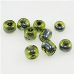 Innen Farben Glas Rocailles, Glas-Rocailles, Rondell, grün, 3x3.60mm, Bohrung:ca. 1mm, verkauft von Tasche