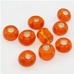 Silbereinzug Glas Rocailles, Glas-Rocailles, Rondell, rote Orange, 3x3.60mm, Bohrung:ca. 1mm, verkauft von Tasche