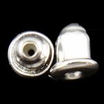 Eisen Barrel Bullet Style Ohrmutter, silberfarben plattiert, frei von Nickel, Blei & Kadmium, 6x5mm, Bohrung:ca. 1mm, ca. 330PCs/Tasche, verkauft von Tasche