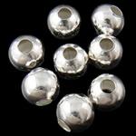 Eisen Schmuckperlen , rund, silberfarben plattiert, frei von Blei & Kadmium, 8mm, Bohrung:ca. 3mm, 2000PCs/Tasche, verkauft von Tasche