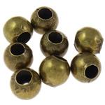Eisen Schmuckperlen , rund, antike Bronzefarbe plattiert, frei von Nickel, Blei & Kadmium, 5mm, Bohrung:ca. 2mm, 10000PCs/Tasche, verkauft von Tasche