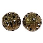 Eisen Schmuckperlen , rund, antike Bronzefarbe plattiert, verschiedene Größen vorhanden, frei von Nickel, Blei & Kadmium, Bohrung:ca. 0.7mm, verkauft von Tasche
