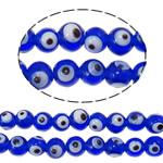 Böser Blick Lampwork Perlen, blöser Blick, handgemacht, blau, 8mm, Bohrung:ca. 2mm, 100PCs/Tasche, verkauft von Tasche
