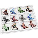 Goldsand & Silberfolie Lampwork Anhänger, Schmetterling, Goldsand und Silberfolie, gemischte Farben, 60.50x40x10mm, Bohrung:ca. 4.2mm, 12PCs/Box, verkauft von Box