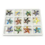 Millefiori Scheibe Glas Anhänger, Lampwork, Stern, Goldsand, gemischte Farben, 55x53x9.50mm, Bohrung:ca. 7.5mm, 12PCs/Box, verkauft von Box